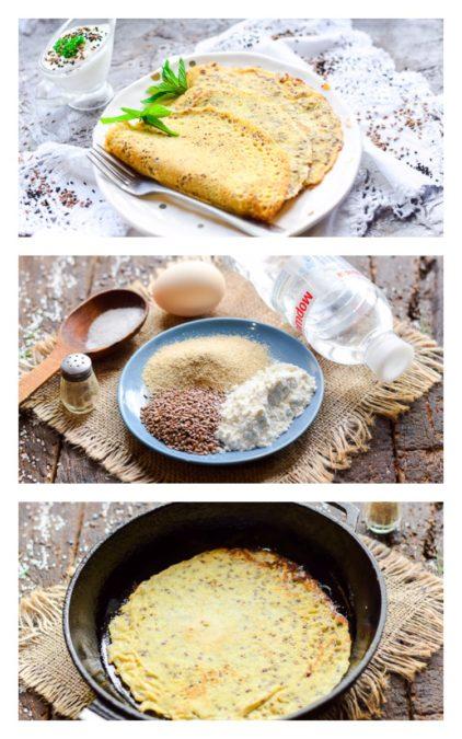Вкуснейшие диетические блины из овсяных отрубей с семенами льна