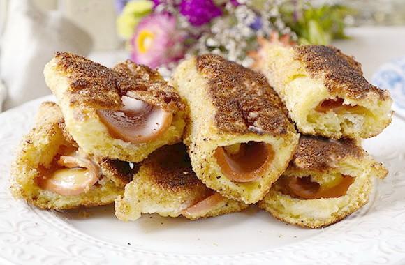 Быстрые закусочные рулетики из хлеба с колбасой и сыром. Такого вы еще не пробовали!