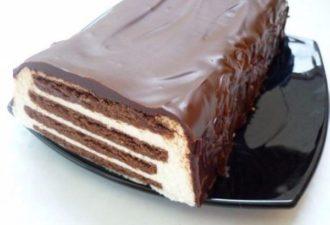 Нежный торт без выпечки «Полосатый»