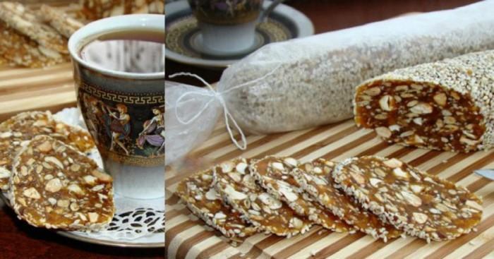 Полезная, сладкая, а главное простая в исполнении колбаска из сухофруктов — невероятно вкусный десерт!
