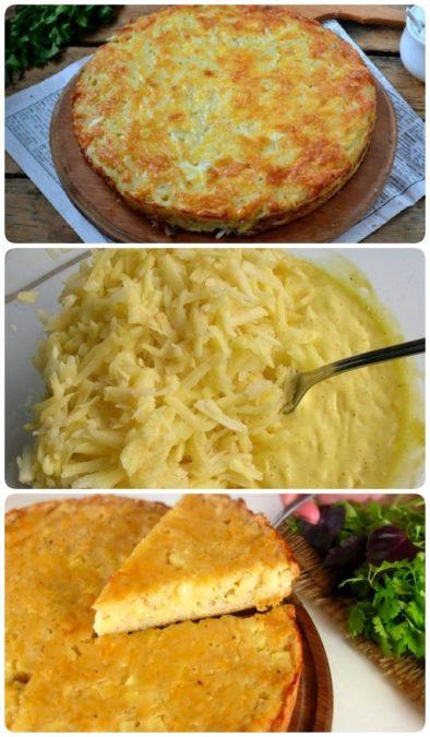 Запеканка из тертого картофеля с сыром и чесноком — простая и очень вкусная