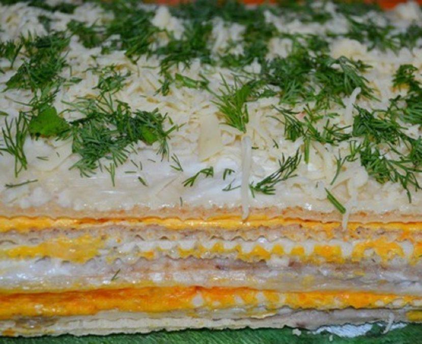 Вафельный закусочный торт. Просто и быстро.