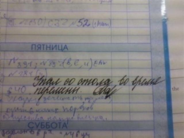 Учителя еще те комики. Смешные записи в дневниках.